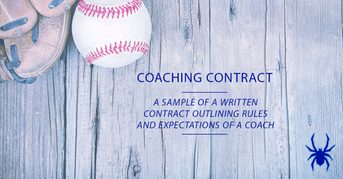 Youth baseball coach contract sample spiders elite for Coaching contracts templates