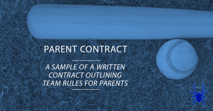 Youth Baseball Parent Contract