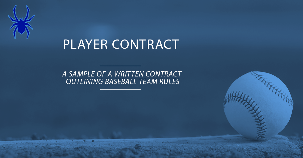 youth baseball player contract  sample