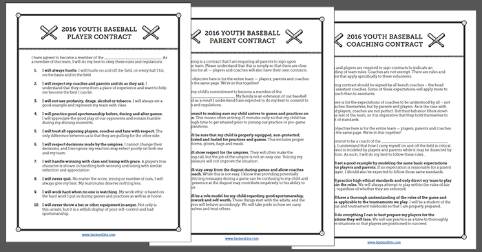 Player, Parent And Coach Contract Templates