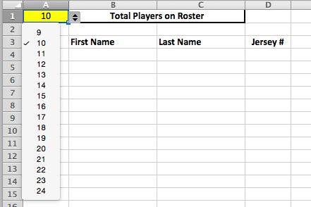 Youth baseball lineup manager and template spiders elite for Baseball team roster template
