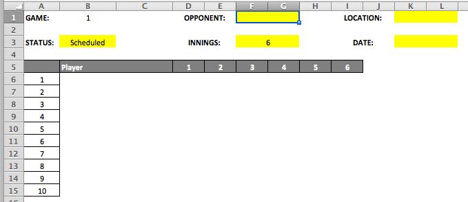 Youth Baseball Lineup Template